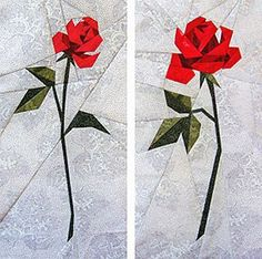 Two Roses Paper-Pieced Quilt Pattern at paperpanache.com