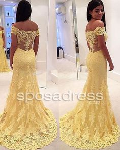 Off the Shoulder Lace Yellow Mermaid Prom PartyDress