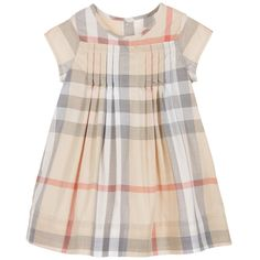 Burberry - Baby Girls Beige Checked Dress with Knickers |