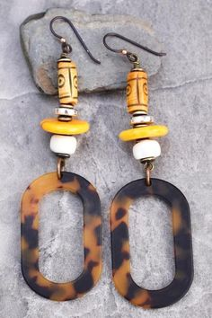 Safari Style Tribal Bone and Tortoiseshell Oval Hoop Earrings Gold Hoop Earrings, Tassel Earrings, Sterling Silver Earrings, Dangle Earrings, Yellow Earrings, African Jewelry, African Earrings, Crystal Jewelry, Silver Jewelry