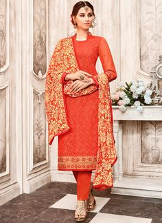 Largest selection of anarkali suits from popular indian online shops. Buy this faux georgette embroidered and lace work red churidar designer suit.