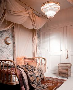 Bedroom Wall Colors, Small Room Bedroom, Home Bedroom, My Room, Girl Room, Kids Bedroom, Pink Bed Canopy, Canopy Bed Drapes, Creative Kids Rooms