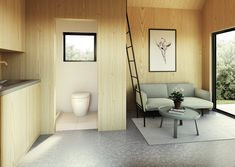 Your very own modern tiny house weekend getaway. The Walden 144 features soaring ceilings, lofted living space, a wood stove, alcove kitchen, and shower room. Tiny House Loft, Best Tiny House, Modern Tiny House, Tiny House Design, Casa Loft, Small Room Design, House Wall, Floor To Ceiling Windows, Cabana