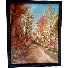 A. Malone, Oil Painting on Board Autumn Splendor Signed by Michigan Artist 1971 at rubylane.com #vintagebeginshere #fineart