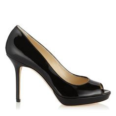 c7af4805702 Black Patent Leather Platform Peep Toe Pumps Capsule Wardrobe Essentials