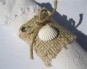 Burlap napkin rings with seashells - Set of 4