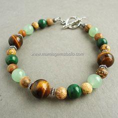 Mens Beaded Bracelet Tiger Eye Malachite Green Aventurine Jasper, $28.95