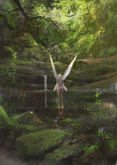 celtic-forest-faerie: {Spirit} by {ArtCobain} Fantasy World, Fantasy Art, Images Esthétiques, Wal Art, Nature Aesthetic, Fairytale Art, Fairytale Fantasies, Forest Fairy, Magical Forest
