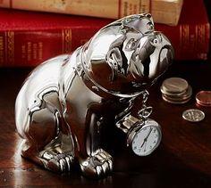 Pottery Barn Bulldog Stainless Steel Salt And Pepper Shaker Set New
