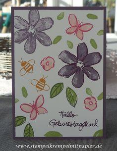 """Stempelkrempel mit Papier Geburtstagskarten mit den Stempelsets """"Garden in Bloom"""" und """"Geburtstagspuzzle"""" #imbringingbirthdaysback"""