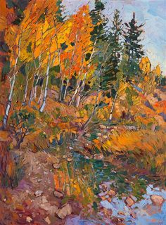 Utah National Parks landscape oil painting cottonwoods in gold, by Erin Hanson