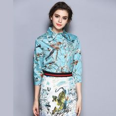 Summer Women Shirts Printed Blended Three Quarter Sleeve Turn-Down Collar Hot Summer Tops Blusas Femininas Women Clothes $89.99   #model #love #instalike #iwant #ootd #styles #streetstyle #beauty #glam #swag #instafashion #cute #sweet #beautiful #style