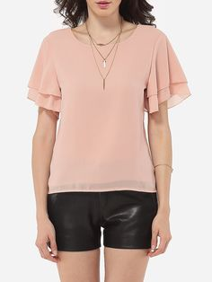 Round Neck Chiffon Hollow Out Plain Blouse Only $14.95 USD More info...