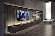 80 TV wall ideas - what to consider? Living Room Home Theater, Living Room Wall Units, Living Room Tv Unit Designs, Modern Tv Room, Modern Tv Wall Units, Living Room Modern, Built In Tv Wall Unit, Home Room Design, Interior Design Living Room
