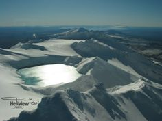 Looking North over Mt Ruapehu's Crater Lake with Lake Taupo in the distance. Mount Ruapehu, Emerald Blue, Alpine Lake, Crater Lake, Distance, New Zealand, Mount Everest, Skiing, Waterfall