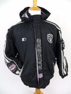 Starter Oakland Raiders Jacket XL NFL Pro Line Hooded Nylon Parka Quilted Coat #Starter #OaklandRaiders