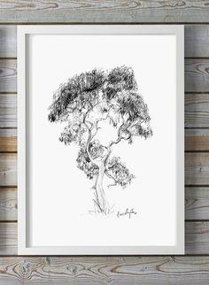 Eucalyptusboom kunst  giclee print  boom tekening   door ZenInks