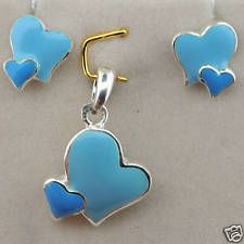 "Sterling Silver Children Enamel Funny ""Hearts"" Set"