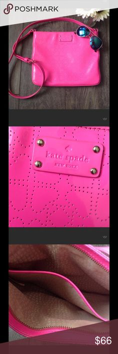 "Kate Spade Darby Crossbody bag in hot pink Neon pink Kate Spade Crossbody bag. Has perforated 💕 hearts 💕, adjustable shoulder strap, divided compartment on the inside makes 2 compartments. 11.5 wide x 9.5 tall x 2"" deep. Shoulder drop is 2'2"". This is in wonderful condition. Only signs of use are a couple of ink marks on the interior. kate spade Bags Crossbody Bags"