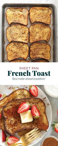 This Sheet Pan French Toast is the answer to your brunch dreams! It's ready to serve in under 30 minutes, and can easily be doubled to serve a crowd. Happy brunching! Healthy French Toast, French Bread French Toast, Banana French Toast, Cinnamon French Toast, French Toast Bake, Honey Recipes, Banana Recipes, Keto Recipes, French Toast Calories