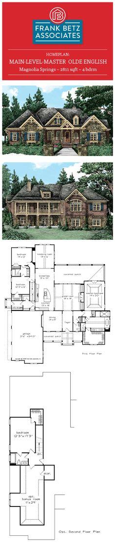 Magnolia Springs: 2811 sqft, 4 bdrm, main-level-master Olde English House plan design by Frank Betz Associates Inc.