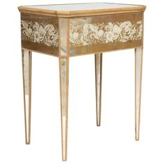 Mirrored Églomisé Bedside Table | From a unique collection of antique and modern side tables at https://www.1stdibs.com/furniture/tables/side-tables/
