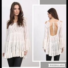 "NWT Boho Ivory Lace Top Sz S Bust 36"" Waist 32"" Length 29"" 85% polyester 15% Cotton. Unlined. Tops Tunics"