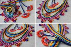 Beaded lace necklace   crocheted with yellow orange magenta