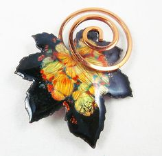 VINTAGE RENOIR MATISSE COPPER ENAMEL OAK LEAF BROOCH .. Renoir and matisse jewelry have a coating on them .. They will never darken .. Genius.  I never saw this pin in this color.  Love it