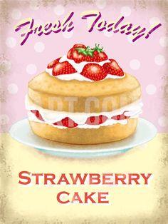Strawberry Cake Tin Sign at Art.co.uk