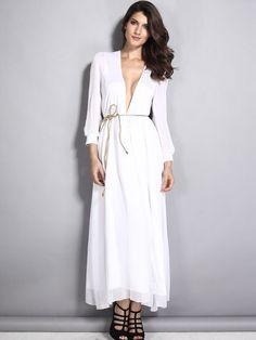 White,Plunge Neck,Long Sleeve,Tie Waist,Side Split,Maxi Dress