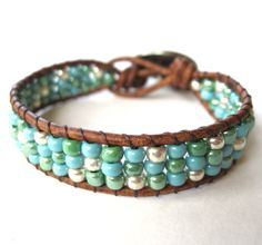 Sea Salt Meadow - Beaded Leather Wrap Bracelet - Cuff Bracelet - Friendship Bracelet. $26.00, via Etsy.