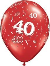 20 Red 40th Birthday or Ruby Wedding Anniversary Helium/Air Balloons Decorations
