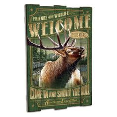 American Expedition Elk Wooden Cabin Sign Wall Decor