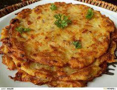 Bramborák or Czech Potato Pancakes Brambor?k or Czech Potato Pancakes Polish Potato Pancakes, Czech Recipes, Ethnic Recipes, Slovak Recipes, Sweet And Sour Cabbage, Prague Food, Shredded Potatoes, Dumpling Recipe, Strudel