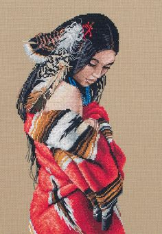 cross+stitch+patterns+native+american | Maia Serenity (Native American Indian) - Cross Stitch Kit - 123Stitch ...
