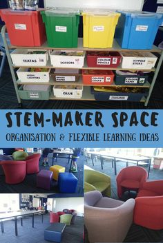 Looking for some ideas for your Maker or STEM Space? This is how I set my space up. Flexible learning areas. Tall tables for standing, comfy chairs or stools. Having resources well organised is also important. Here's our go to tubs on a trolley. Making the students as independent as possible helps with what can sometimes be a bit of chaos. If you have questions, follow my TpT store and ask me a question there. Happy Making :-)
