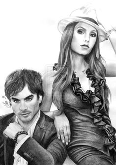 Nina Dobrev and Ian Somerhalder by Mim78 on deviantART ~ pencil portrait by Mim Kay