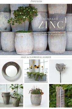 Your daily dose of zinc: Vintage vessels from the UK become statements for the garden this spring at Terrain.