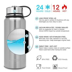 Keep cold and hot for Cycling 600ML Double Vacuum and BPA Free Stainless Steel Drink Flask Newdora Leakproof Water Bottle Camping and Traveling Hiking