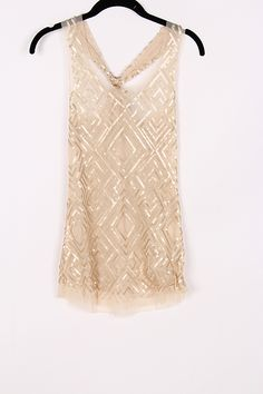 Sequined Luster Top in Soft Apricot