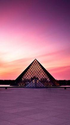 Beautiful Sunset Louvre, #Paris, France #pyramid #travel