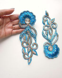 Set of 2 Turquoise hand embroidered appliques Gold and Teal