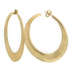 Andrea Lieberman 22 kt yellow gold large hoop diamond earrings