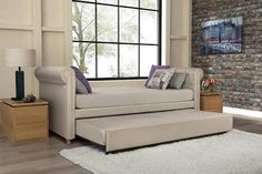 Ameriwood Sophia Linen Upholstered Daybed and Trundle in Tan