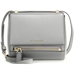 Givenchy Pandora Box Mini Leather Shoulder Bag ($1,825) ❤ liked on Polyvore featuring bags, handbags, shoulder bags, shoulder handbags, gray leather purse, gray purse, grey purse and givenchy handbags