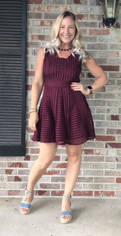 Modcloth red wine dress, chambray ankle strap wedges | What is Hether Wearing