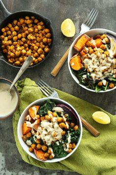 30 minute CHICKPEA Sweet Potato BUDDHA Bowls! A complete meal packed with protein, fiber and healthy fats with a STELLAR Tahini Lemon Maple Sauce! #vegan #glutenfree