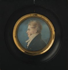 "Miniature Profile Portrait of George William Erving, American Diplomat, Circa 1805-10. Attributed to Saint-Memin or Follower - Erving served as U.S. Consul to London, Charge d'Affairs in Madrid & Minister to Spain. His papers are housed at Yale University. Watercolor on paper, diameter 1 1/4 inches. The reverse with labels inscribed in Spanish & English & reading in part ""...(given) to me by Hon. Robert C. Winthrop."""