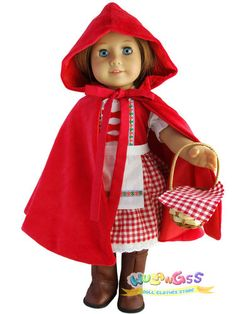 "Handmade 4pcs Little Red Riding Hood Costume fits 18"" American Girl doll 